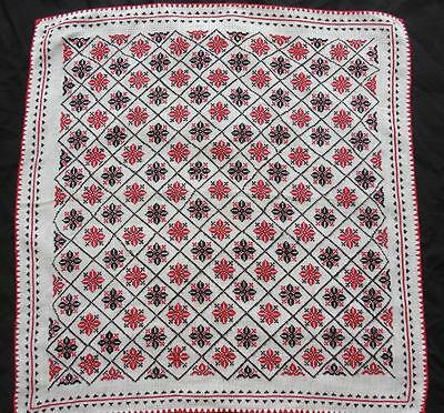 "Vintage hand embroidered cross stitched flowers black & red tablecloth 29.5""x31"""