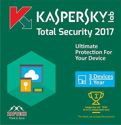 Kaspersky Total Security 2017 new version - 3PC- 1 years UK/EU