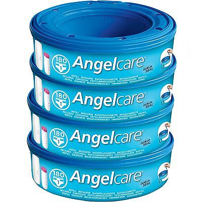 4 x Angelcare Nappy Disposal System Refill Cassettes Wrappers Bags Sacks Pack