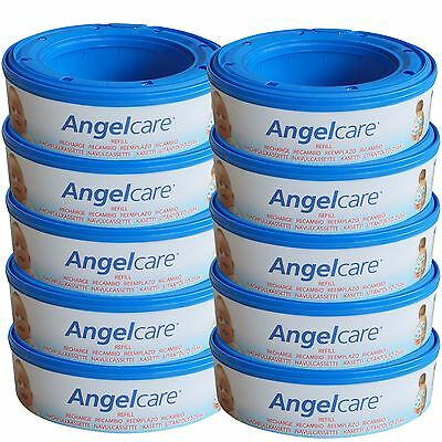 10 x Angelcare Nappy Disposal System Refill Cassettes Wrappers Bags Sacks Pack