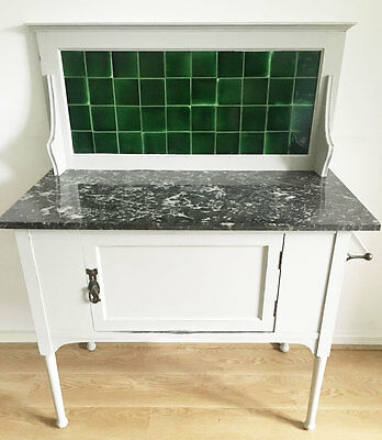 Painted pale grey vintage wash stand black/white marble top green tiles cupboard