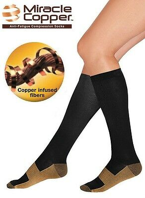 Compression Travel Socks, Knee High, Miracle Copper, Varicose Veins Circulation