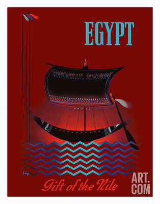 Egypt - Gift of the Nile - Ancient Egyptian Solar Boat Giclee Print, 11x14