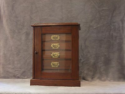 An Edwardian mahogany glazed front Collectors / specimen cabinet,