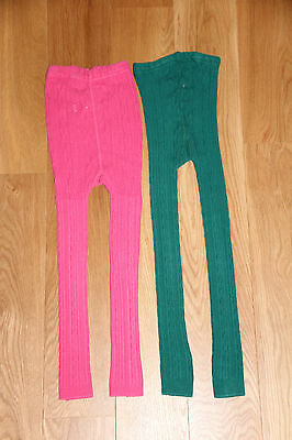 .MINI BODEN 9-10 Y GIRL'S 2 x FOOTLESS CABLE KNIT TIGHTS pink + green