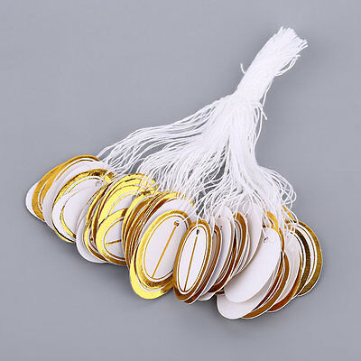 Oval Shape 100pcs Golden Color Side Paper Jewelry Price Tags With String SM
