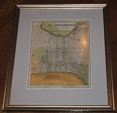 Antique 1838 G.W. Boynton Map of PHILADELPHIA PA Matted & Framed Engraving