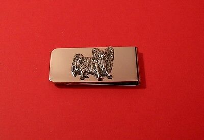 Papillon Dog Pewter Motif Money Clip Mum Dad Gift Vet Pet Christmas Gift NEW