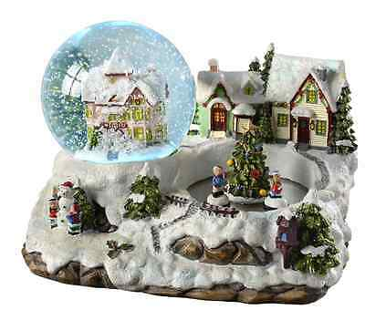 Christmas Village Scene Colour Changing Snow Globe Musical Xmas Home Decoration