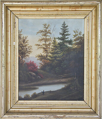 19th Century Hudson River, White Mountain School Landscape Oil on Canvas.