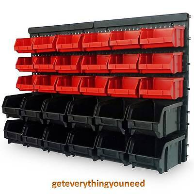Wall Mount Storage Bin Kit - 32pcs - Red and Black with Stackable Boxes Garage