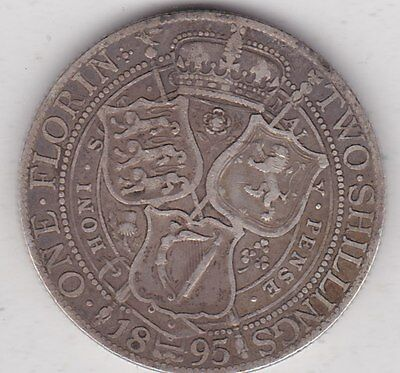 1895 Victorian Silver Florin In Good Fine Condition