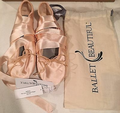 Ballet Beautiful Satin Blush Slippers US9 Made in Italy