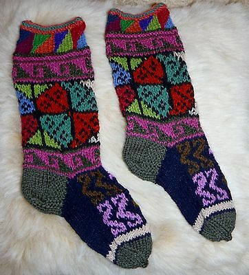 Unisex Alpaca &  Wool Childrens Long Socks From Peru *multi Colour