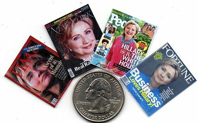 4 Miniature  - HILLARY CLINTON    MAGAZINES - Dollhouse 1:12 scale