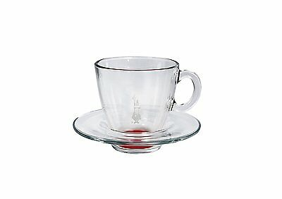 Bialetti Blown Glass Cappuccino Cup And Saucer Set Of 2, RED -  GIFT