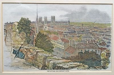 Coloured Wood Engraving of York Victorian 1881