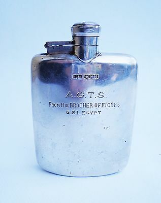 SOLID SILVER James Dixon & Sons c.1922 Flask Bottle Engraved military interest