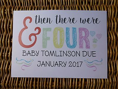 pet AND THEN THERE WERE FOUR colourful PREGNANCY ANNOUNCEMENT print prop 4 dog