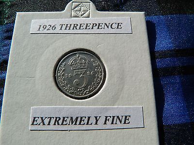 EXTREMELY FINE? 1926 THREEPENCE  (Silver .500)  George V