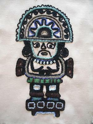 """Vintage completed south america needlework embroidery  15""""x11"""""""