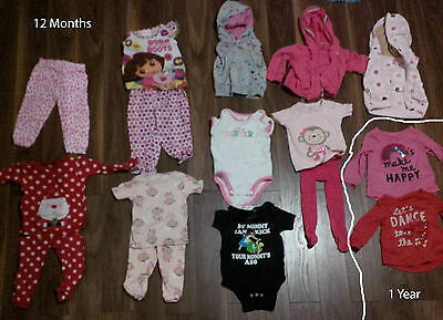 HUGE LOT of 49 Pieces Girls Size 12 Months 18 Months Clothing Clothes