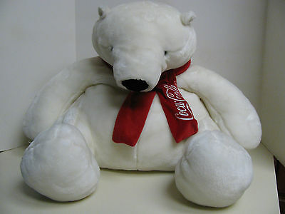 Boyds Coca-Cola Polar Bear - Large White Soft Plush Bear With Red Scarf - Nwt
