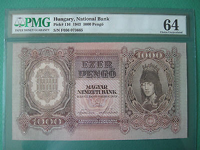 1943 Hungary National Bank 1000 Pengo Pmg 64 Choice Unc