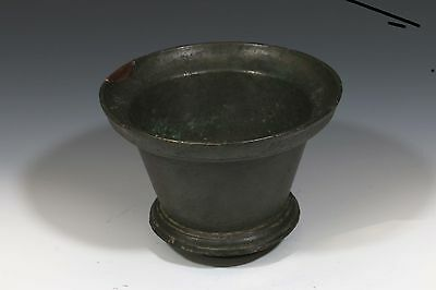 ANTIQUE OBSCURE RARE 18th - 19th CENTURY SOLID BRONZE HANDMADE MORTAR