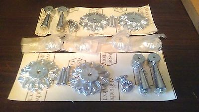 Vintage 1950s-1960s Unused Drawer Pulls Handles - Flowers Floral Silver