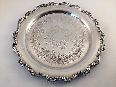 Mid Century Wilcox IS International silver Co 311 Rose Edge Silver Platter