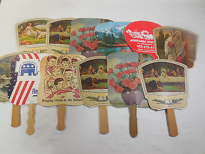 Lot of 12 Vintage  Paper Hand Fans with Wooden Handles
