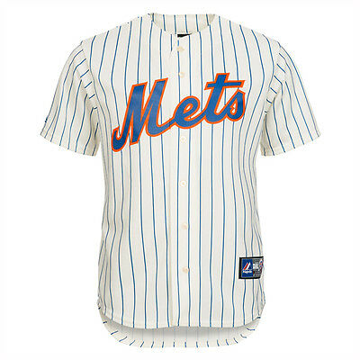 New York Mets MLB Baseball Replica Jersey Shirt Ivory Black Pin Medium