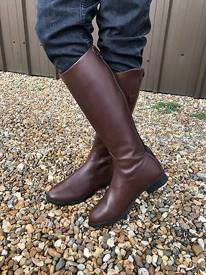 New Faux Leather Long Riding Boots Brown Normal & Wide Calf CLEARANCE 1-8 Size