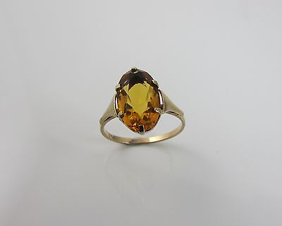 Vintage Art Deco 9 ct Yellow Gold 375 Citrine Ring Size 'M'