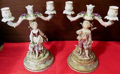 Pair-Dresden Figural Candelabra-Courting Couple With Lambs