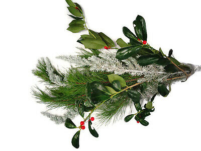 Simply Christms Bouquet, Fresh Pine bunches,frosted pine, ming pine, holly bunch