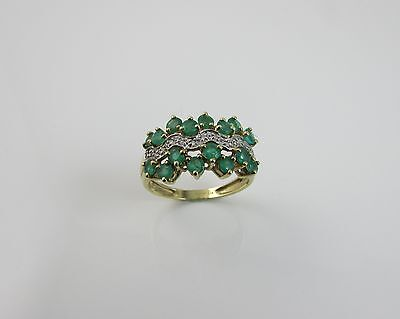 9 ct Yellow Gold 375 Emerald & Diamond Cluster Ring Size 'T'  Full Hallmark
