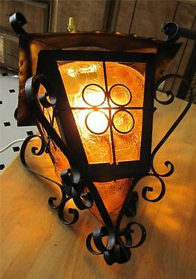 Antique Hanging Wrought Iron Lamp With Amber Molded Globe. Unique Glass