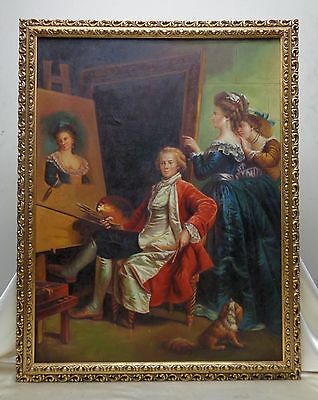 18th Century Style Oil Painting: Artist Painting Portrait in Wooden Carved Frame