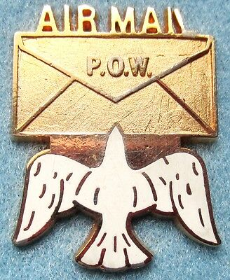AIR MAIL P.O.W.  dove with Envelope pin