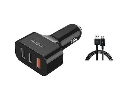 Chargeur Adaptateur Allume-cigare 3 sorties USB (2.4A x 3) + Câble Micro USB 1m