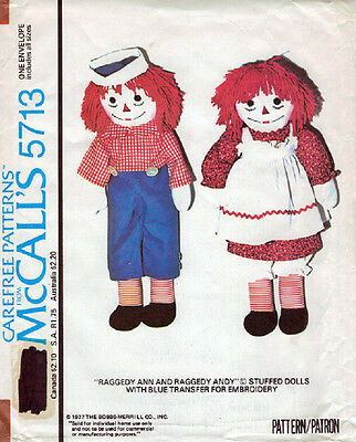 McCalls 5713 - Raggedy Ann and Andy Doll Patterns