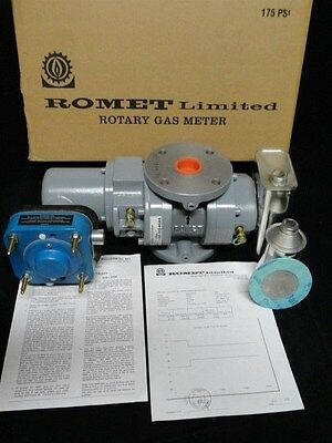 ROMET RM2000 Rotary Gas Meter w PULSIMATIC TRANSMITTER w INSPECTION CERTIFICATE