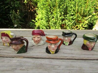 6 Miniature Hand Painted Staffordshire Artone Charactor Toby Jugs