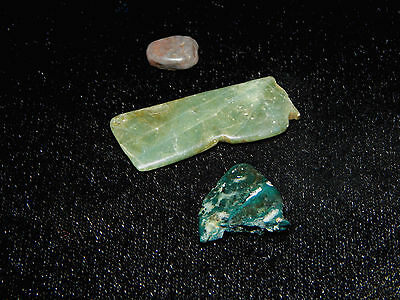 Pre-Columbian Jade Fragment Collection, Set of 3