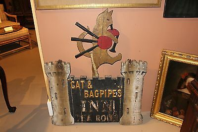 19th c Cat & Bagpipes Inn & Tea Room Folk Art Sign