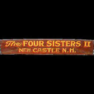 """""""Four Sisters II"""" Vintage Painted Wooden Boat Sign New Castle, NH"""