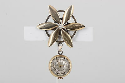 10K Rg Lonville 17 Jewel Windup Watch Brooch Vintage Works! 5154