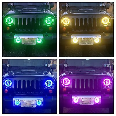 2007-2014 KC Jeep Wrangler JK Fog Lights housings with RGB Custom Halo installed